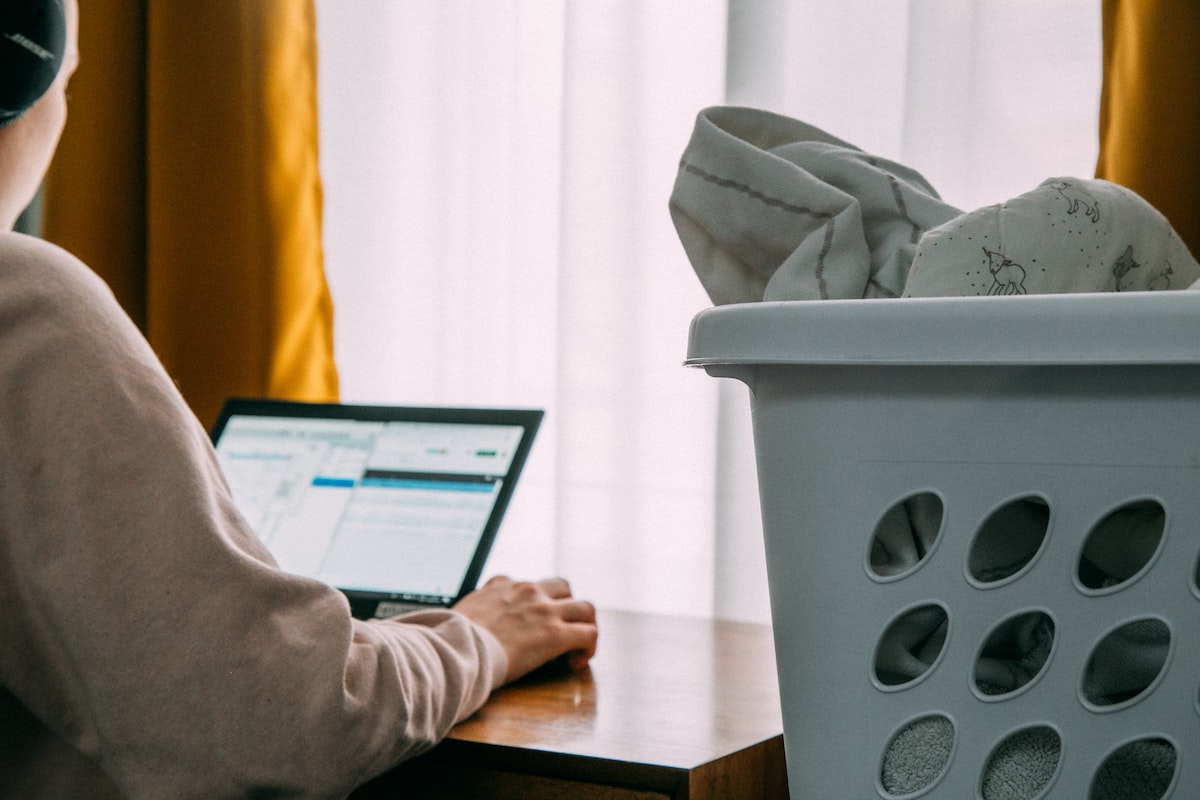 Working from home and doing laundry